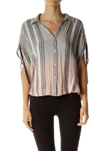 Beige Navy Ombre Pinstripe Shirt