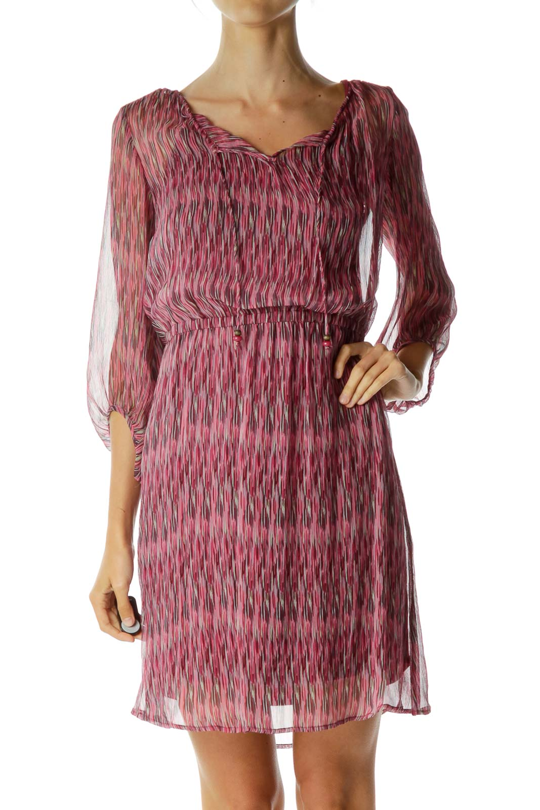 Pink Stripe Print See-Through Dress
