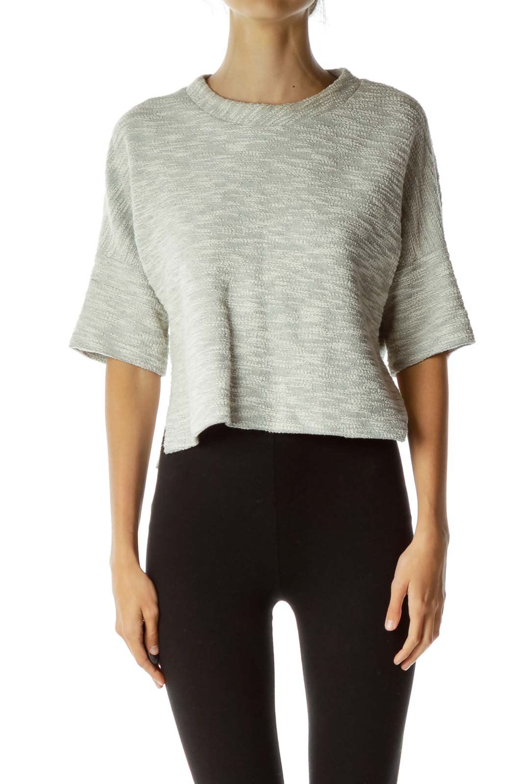 Gray Textured Cropped Top