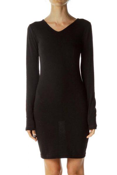 Black Long Sleeve Day Dress