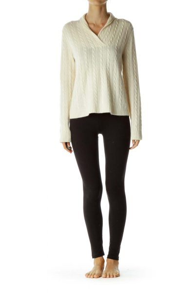 Cream Cable Knit Cashmere Sweater