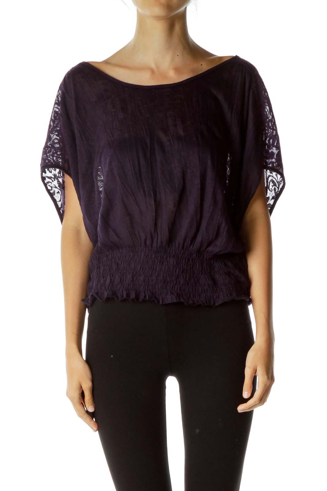 Purple Embossed Sheer Blouse