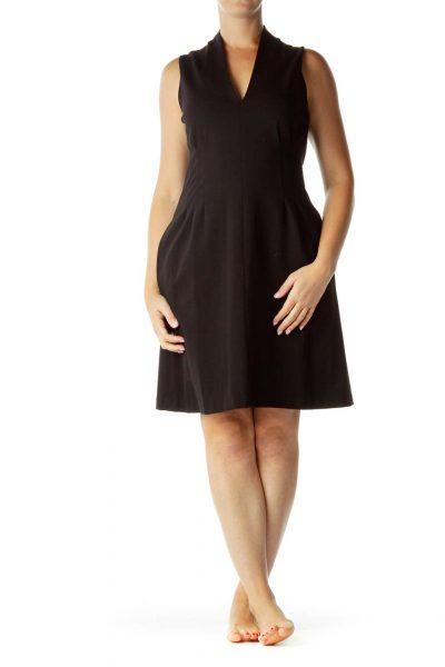 Black V-Neck Pleated Work Dress