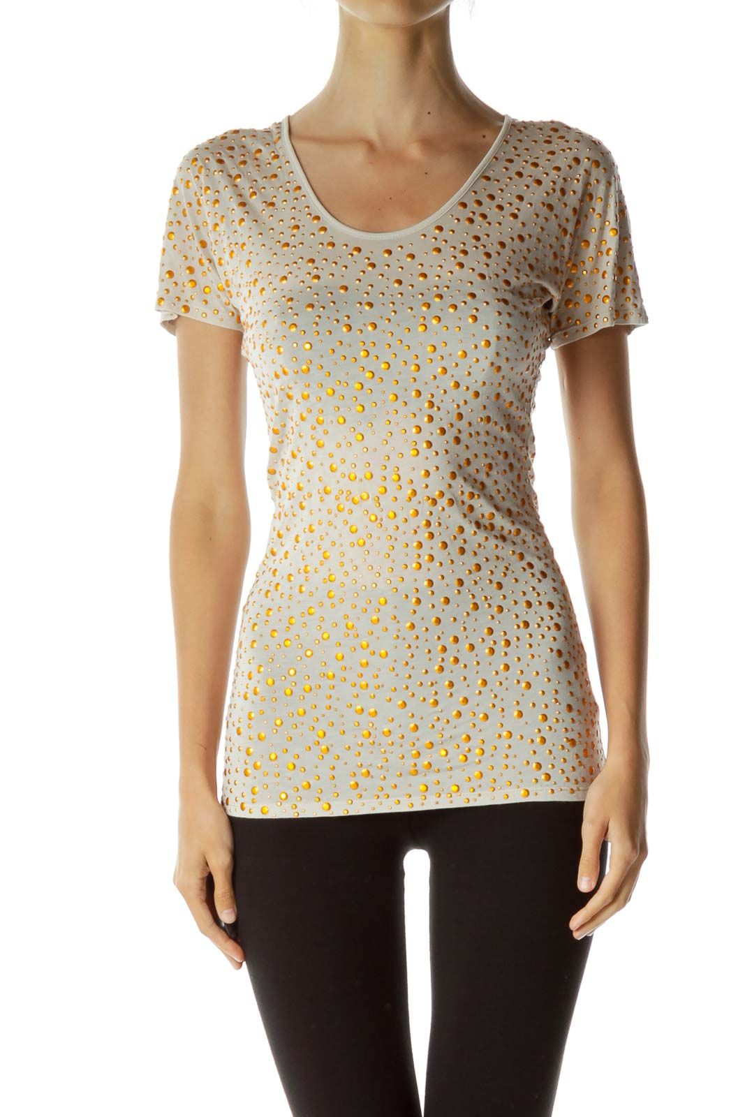 Beige Studded T-Shirt