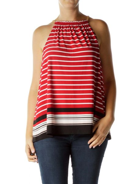 Red Striped Tank with Gold Chain Detailing