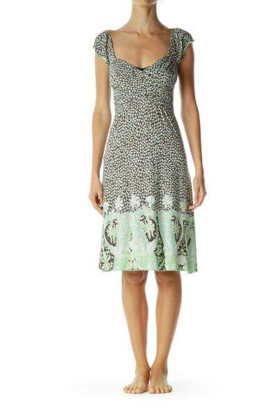 Brown Green Print Day Dress