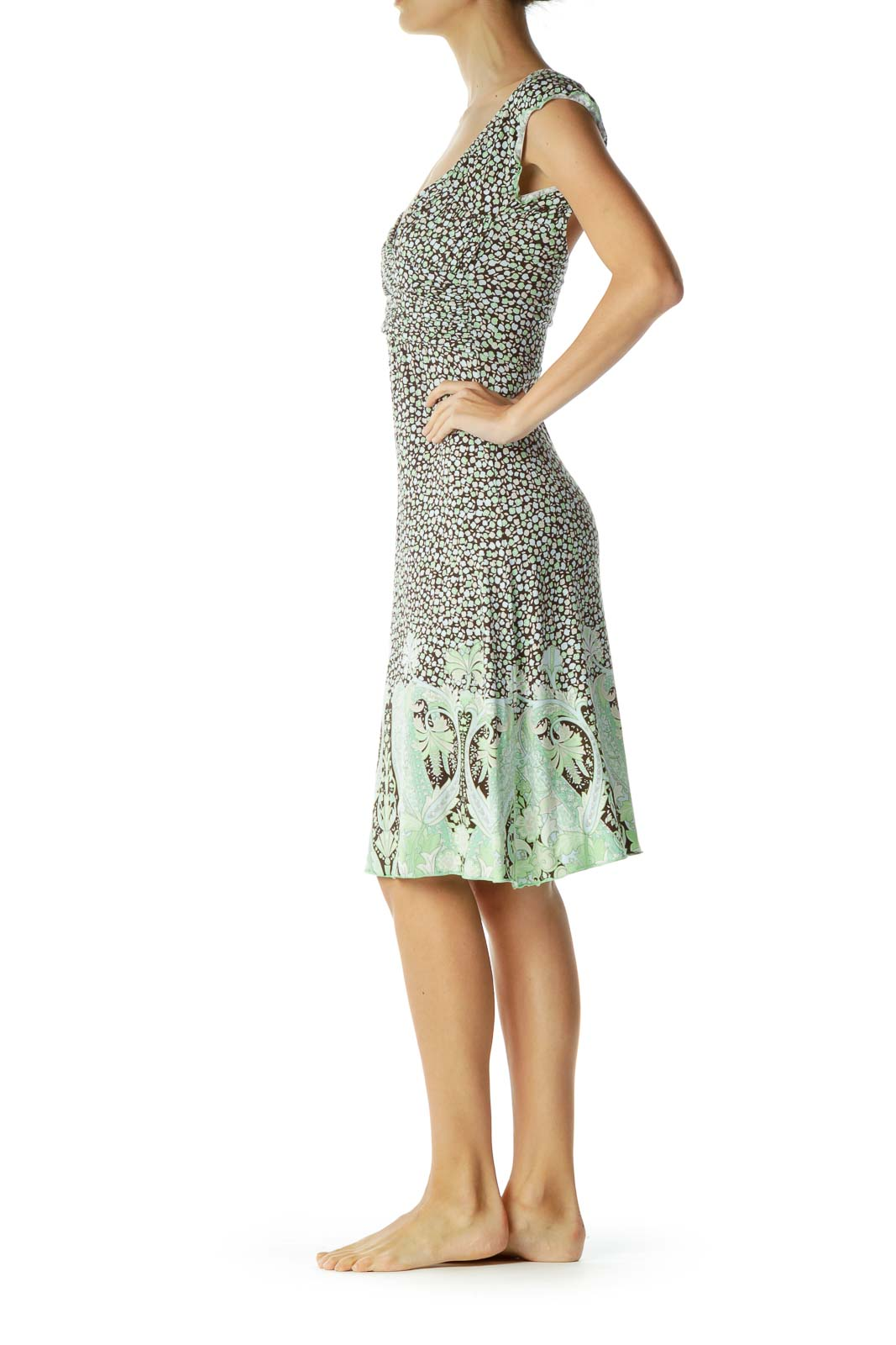 Brown Green Print Day Dress