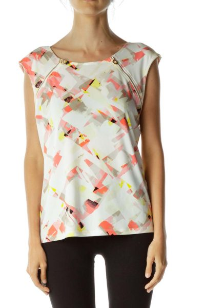 Pink and Yellow Graphic Print Zippered Tank