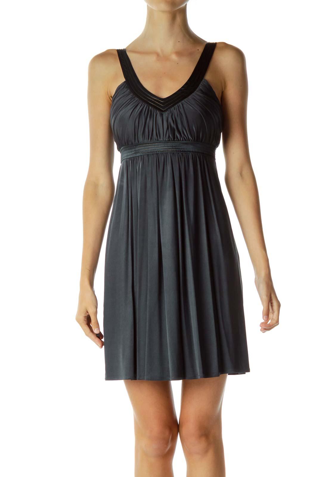 Dark Blue V-Neck Dress with Gold Lining