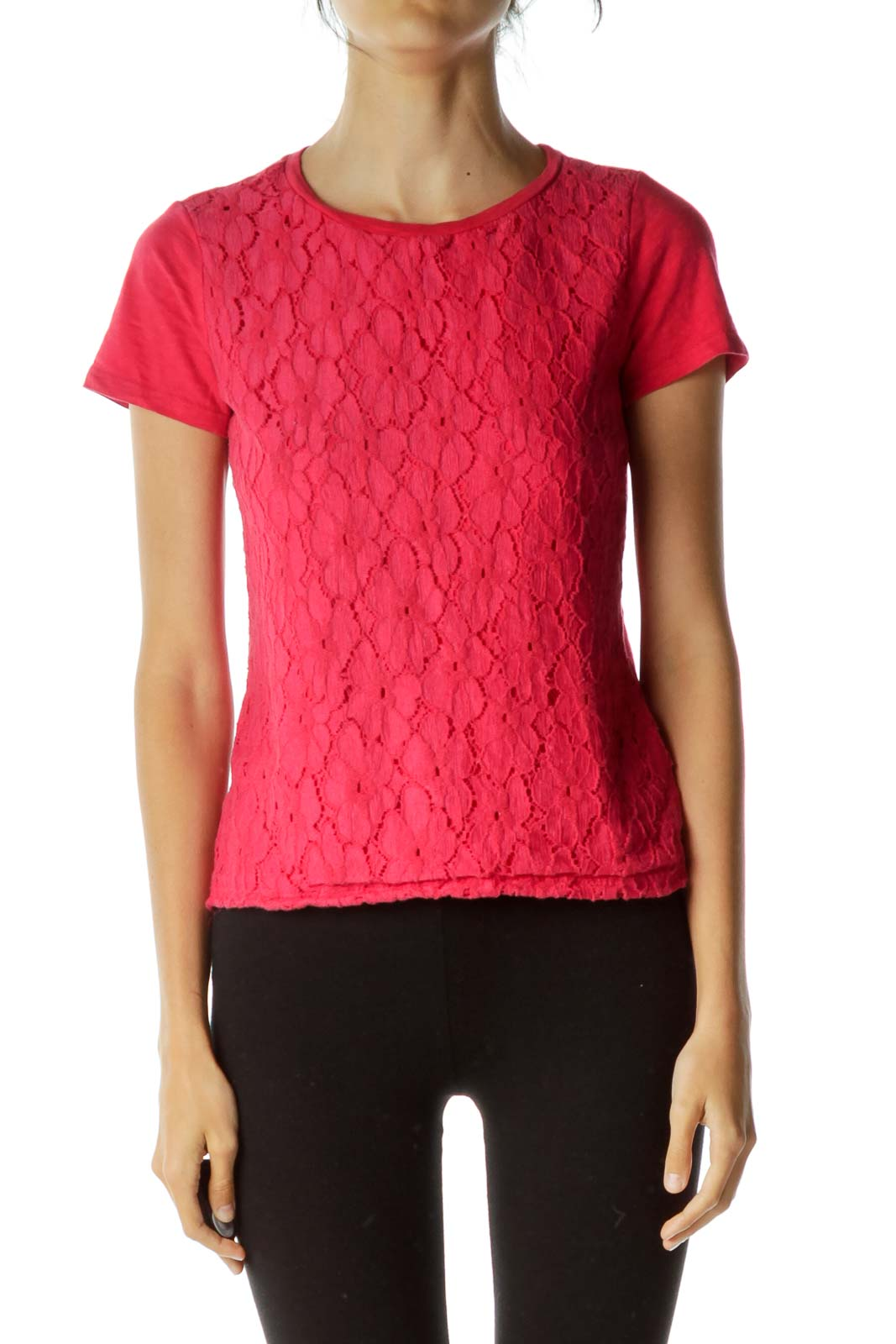 Pink Crocheted T-Shirt