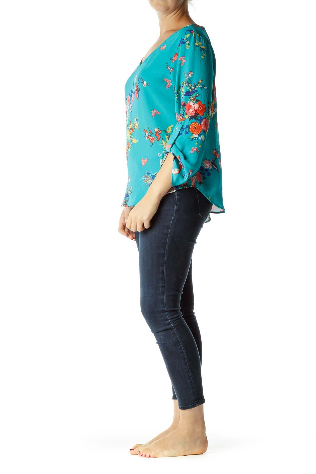 Blue Floral Print Long Sleeve Top