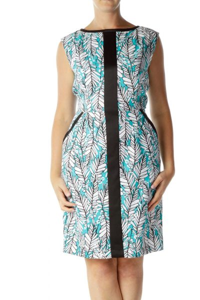 Teal Blue and Black Print Dress
