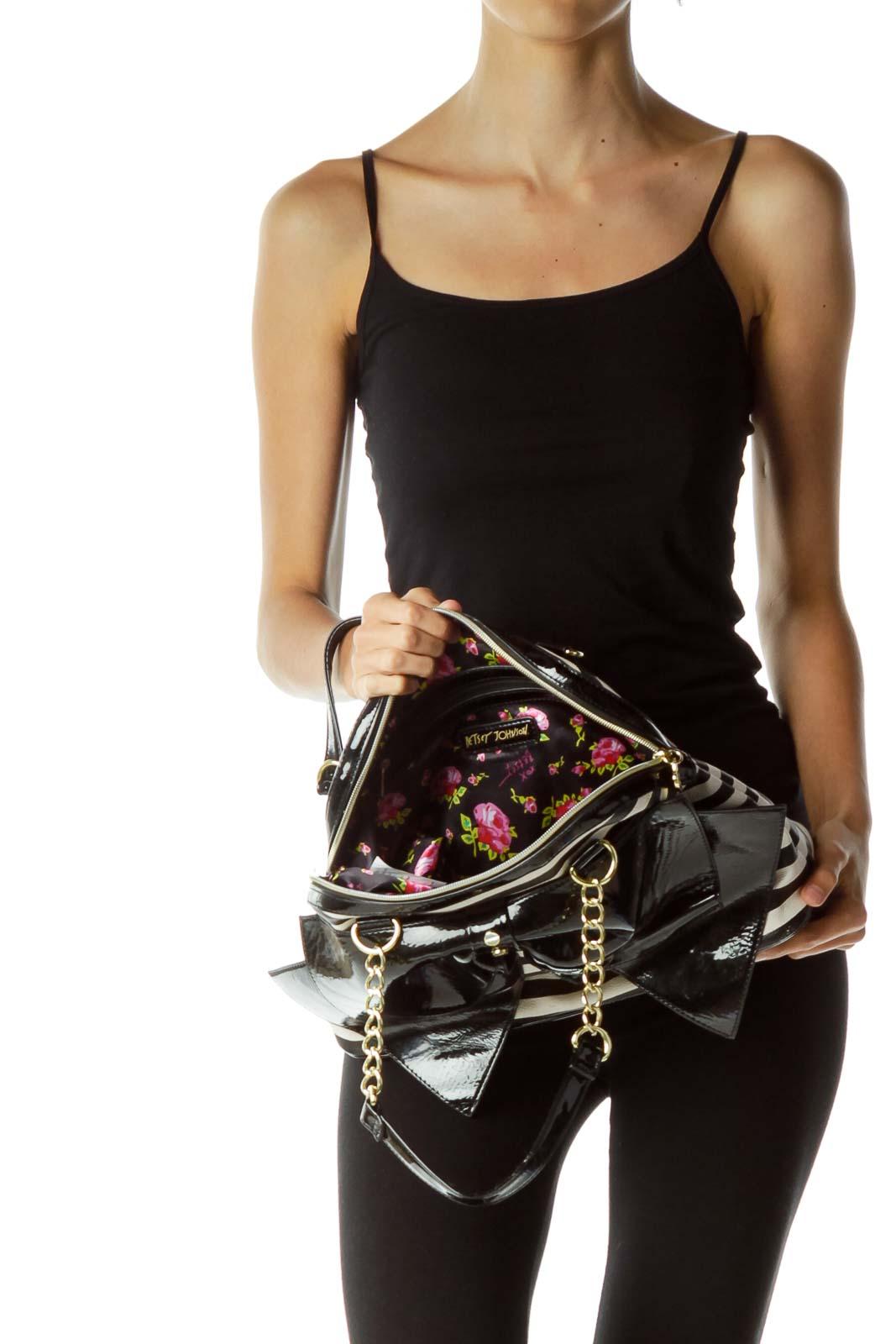 Black White Striped Tote Bag