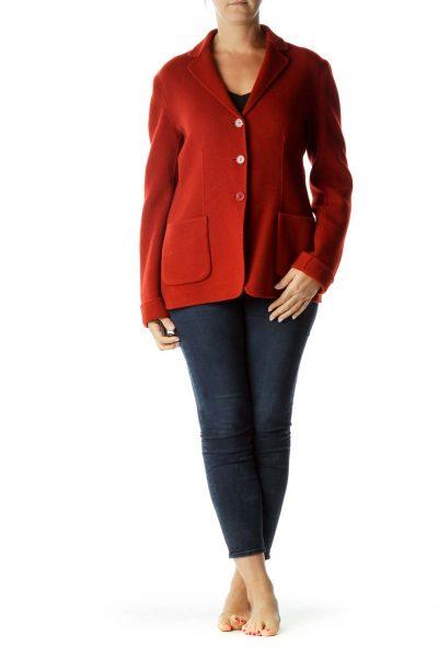 Orange Virgin Wool Pea Coat