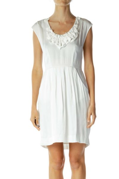 White Dress with Ruffled Neckline