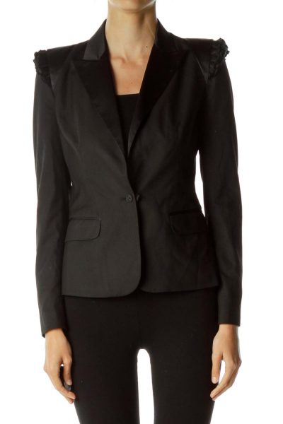 Black Strong Shoulder Blazer