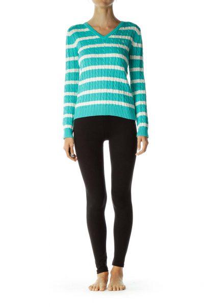 Blue White Striped V-Neck Sweater