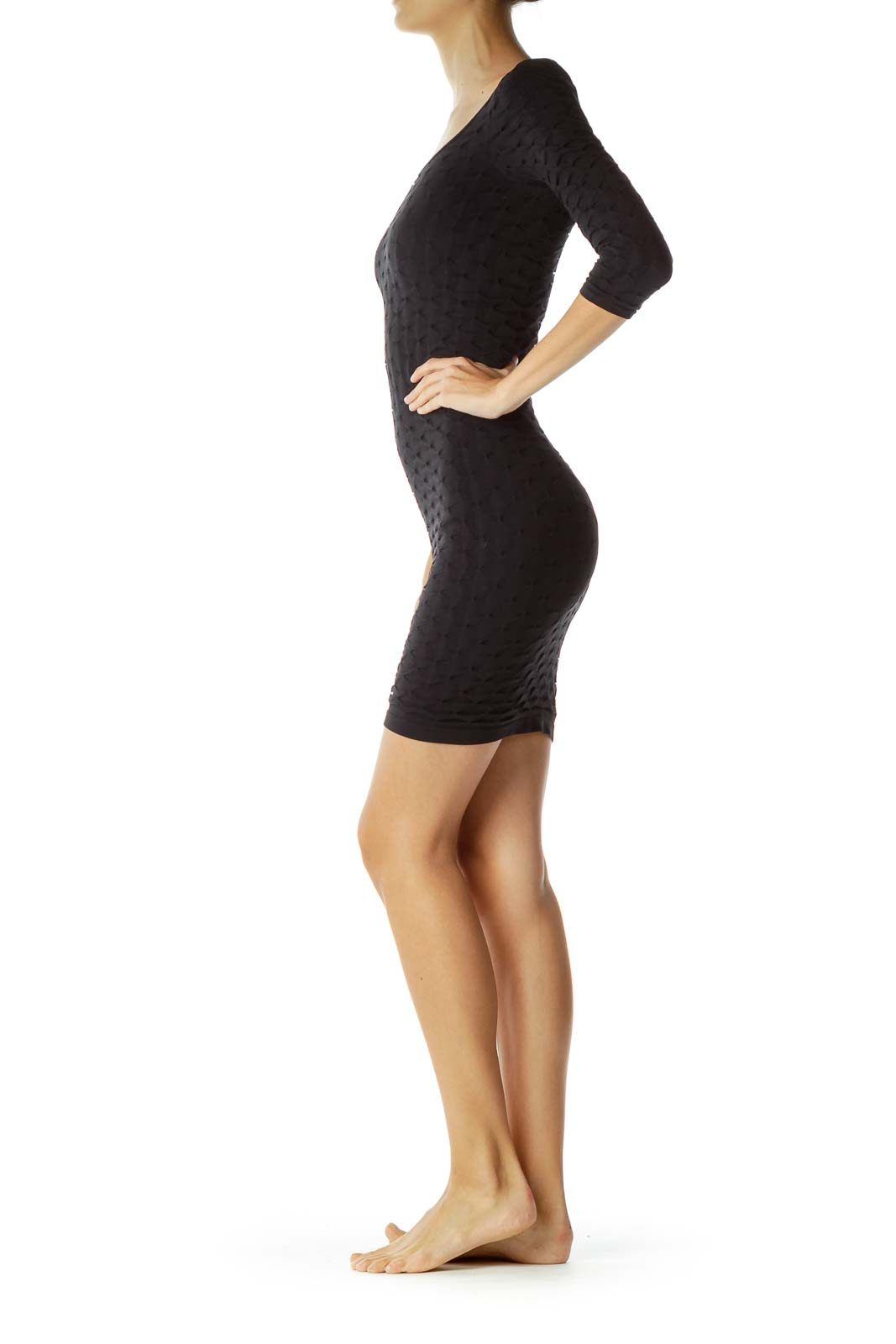 Black Body-Con Textured Dress