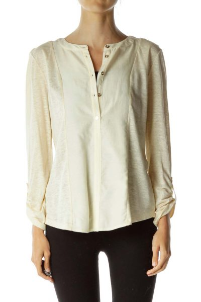 Cream Silk Detail Linen TOp