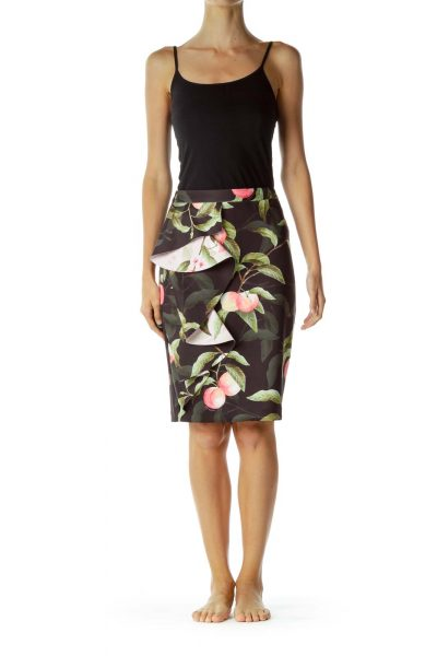 Floral Printed Black Pencil Skirt with Ruffle