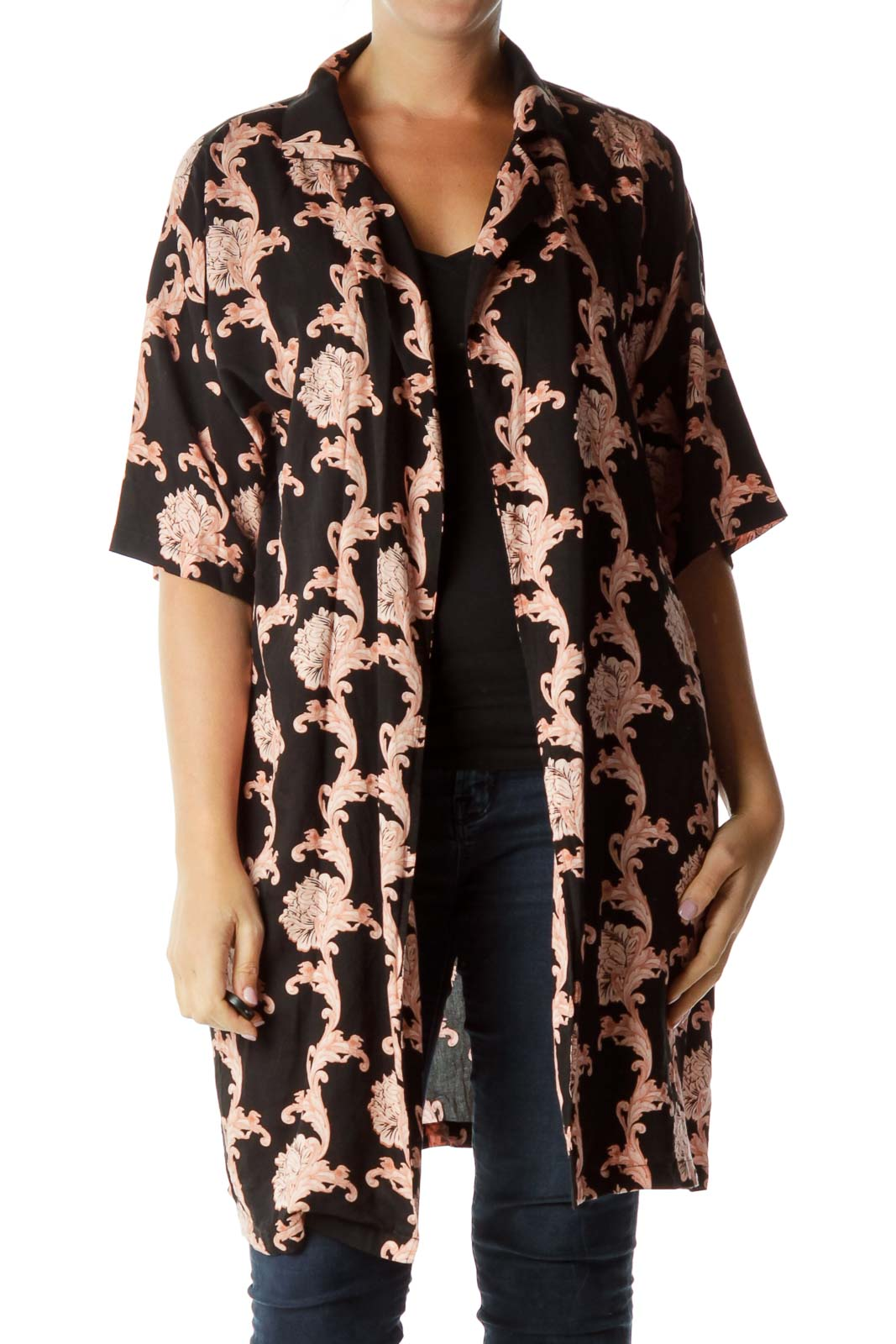 651ad2097a6d moves by minimum. Pink and Black Printed Loose Jacket ...