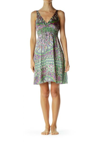 Multicolor Silk Paisley V-Neck Day Dress