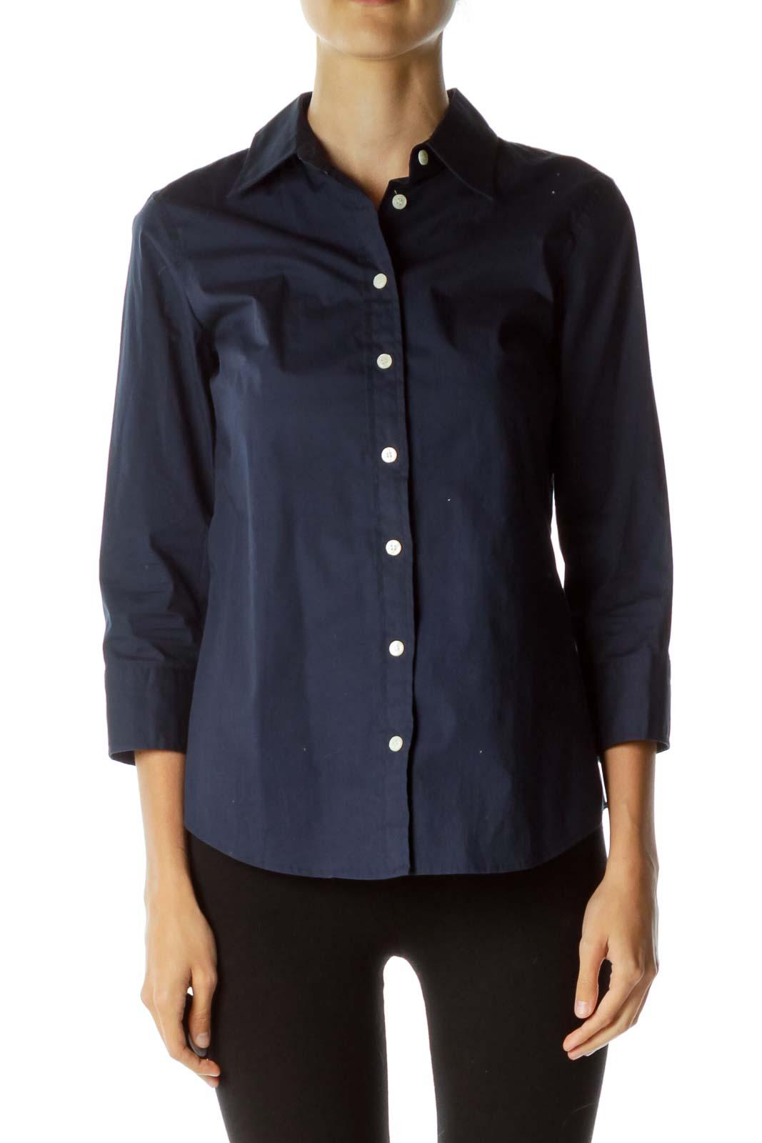 Navy Blue Button-Down Shirt