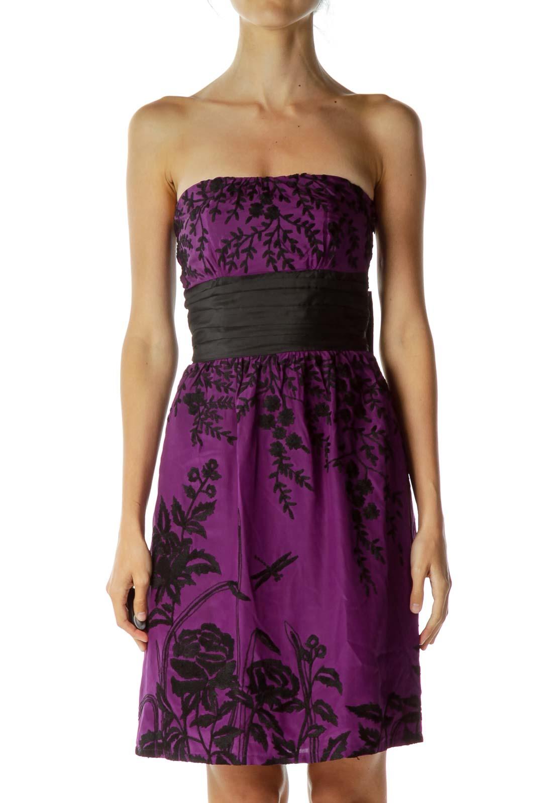 Purple Black Embroidered Strapless Dress