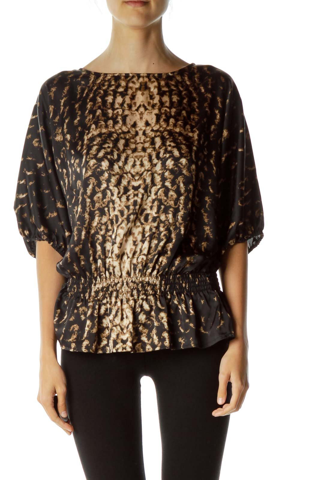 Black Brown Printed Bat-Sleeve Printed Blouse