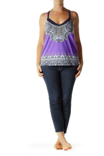 Purple Multicolor Activewear Top
