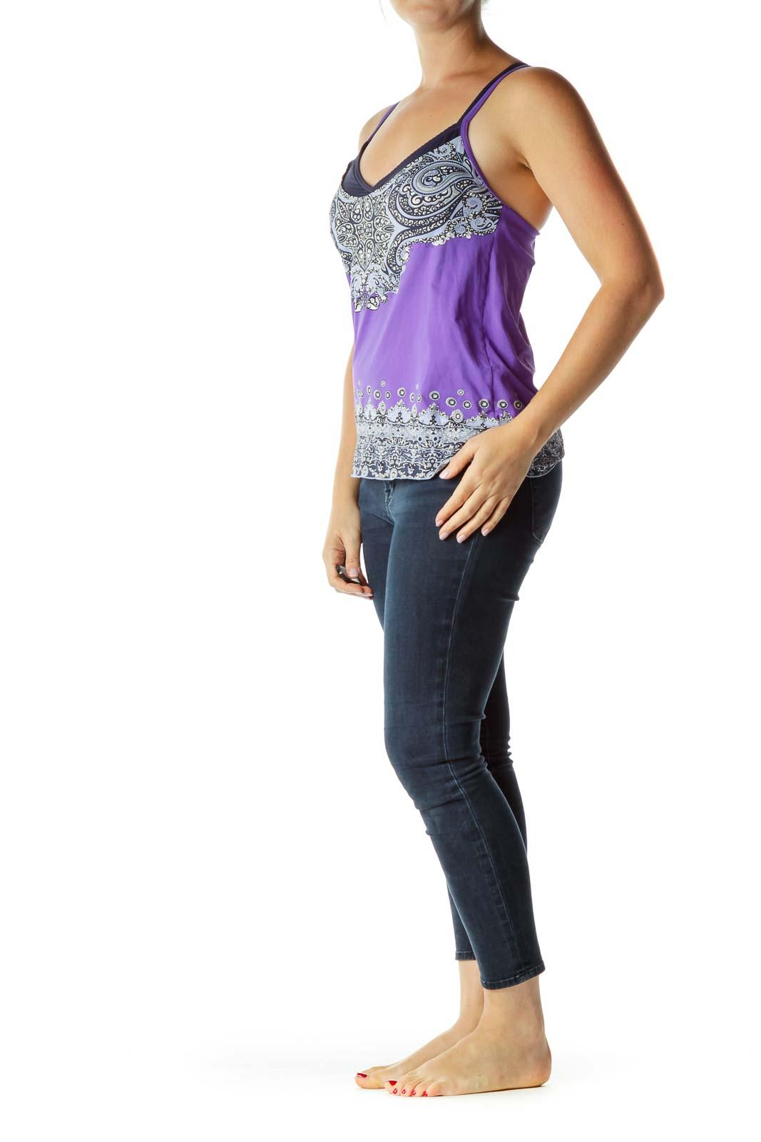Purple Multicolor Activewear Top