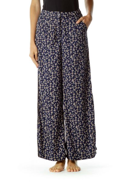 Navy Blue Floral Print Pants