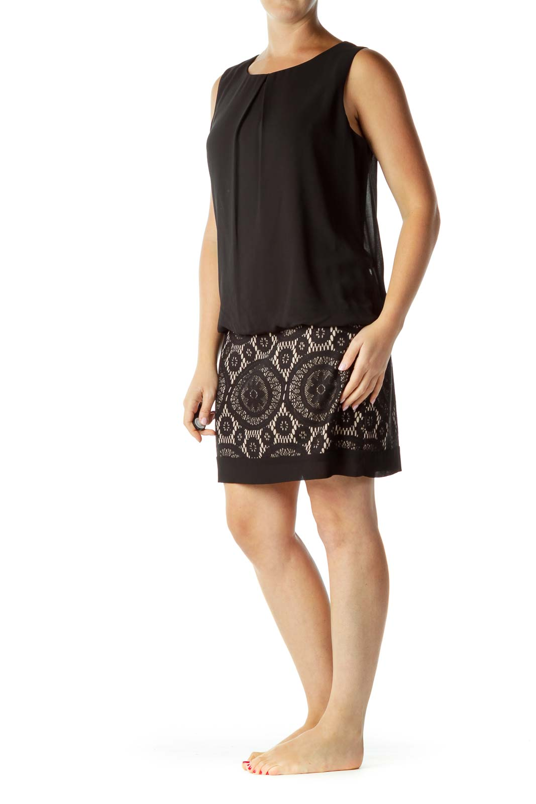 Black Beige Lace Cocktail Dress