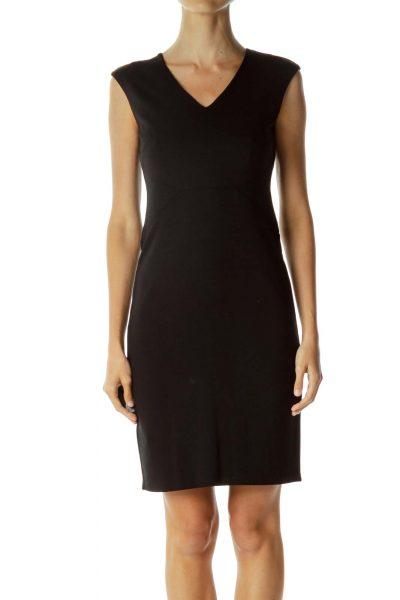 Black V-Neck Work Dress