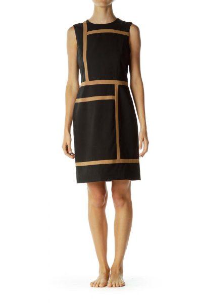 Black Brown Geometric Print Sheath Dress