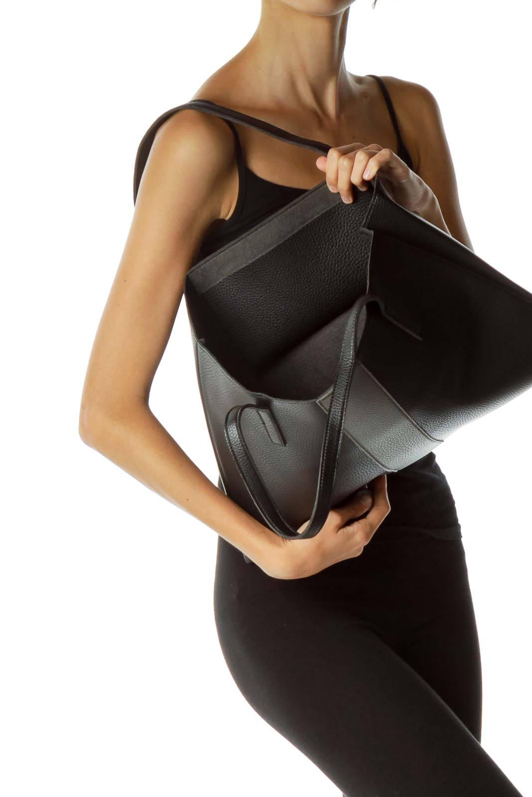 Black Leather Textured Tote