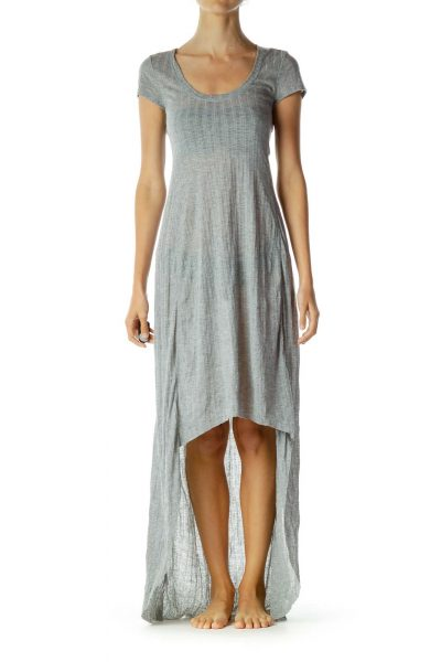 Gray Jersey Knit High-Low Jersey Knit Dress