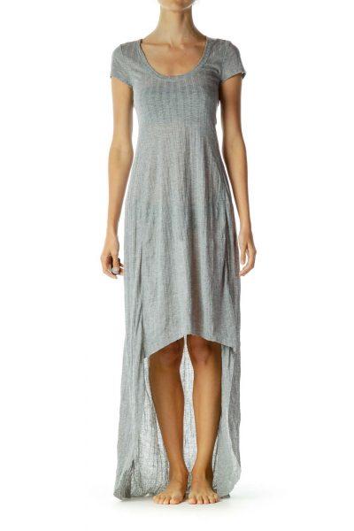 Gray Jersey Knit High-Low Jersey Knit Dress