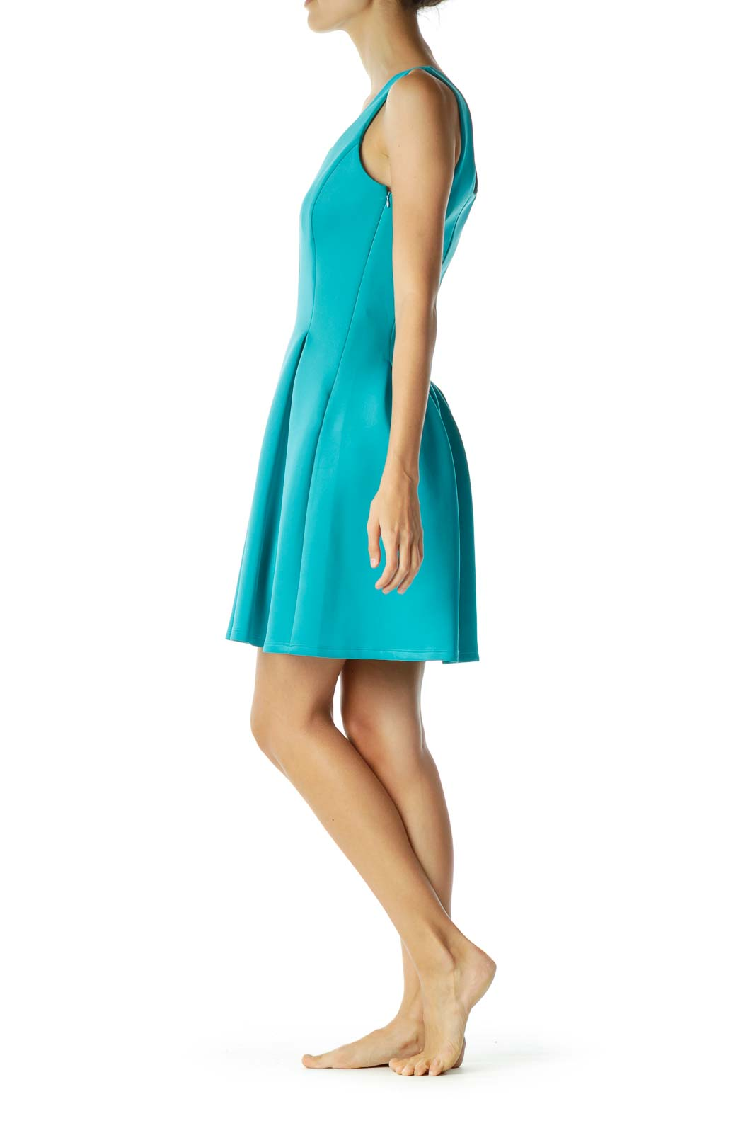 Blue A-Line Pleated Cocktail Dress