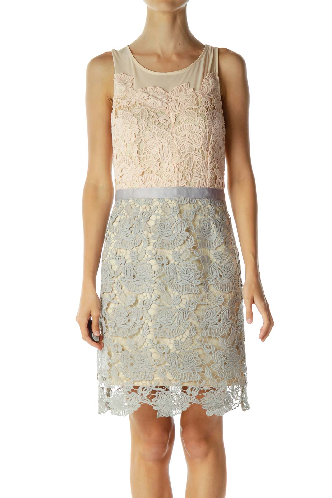 Beige Gray Lace Cocktail Dress