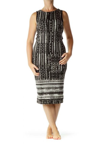 Black Cream Printed Open-Back Midi Dress