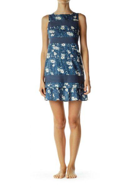 Blue Cream Flower Print Ruffle Dress
