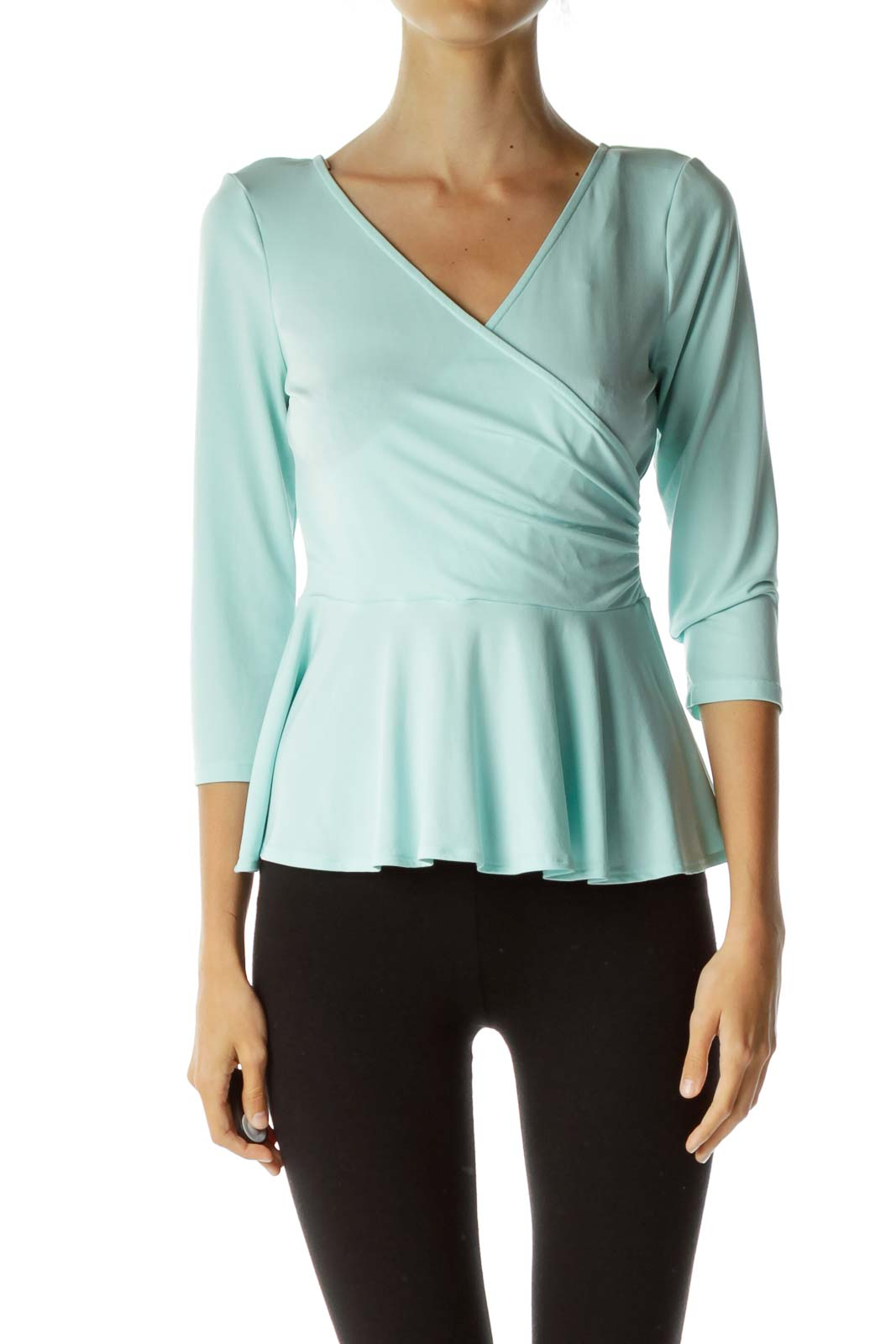 Blue Surplice Peplum Blouse