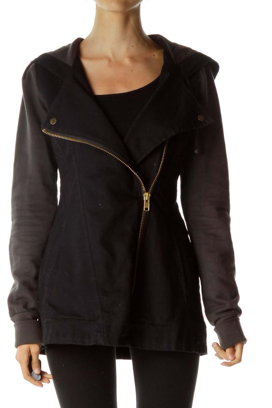 Black Denim Hooded Organic Cotton Jacket