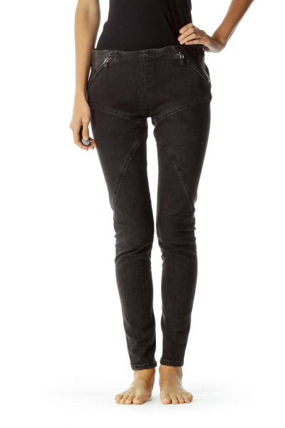 Black Leather Trim Zipper Detail Skinny Jeans