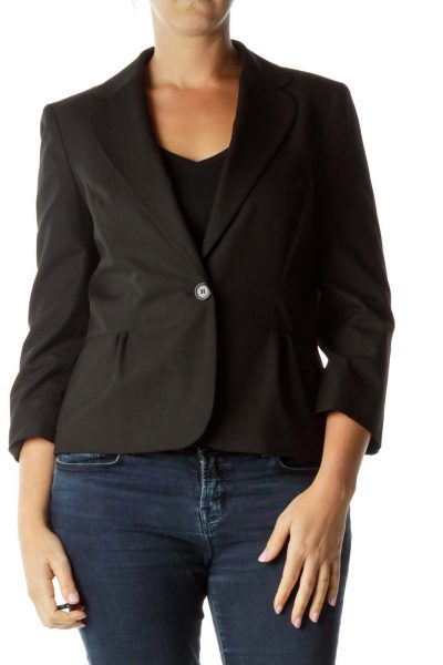 Black Buttoned Long Blazer