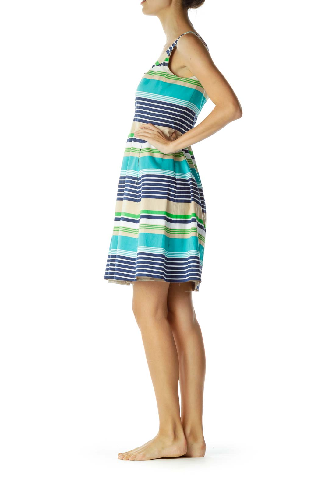 Blue Beige Striped Day Dress