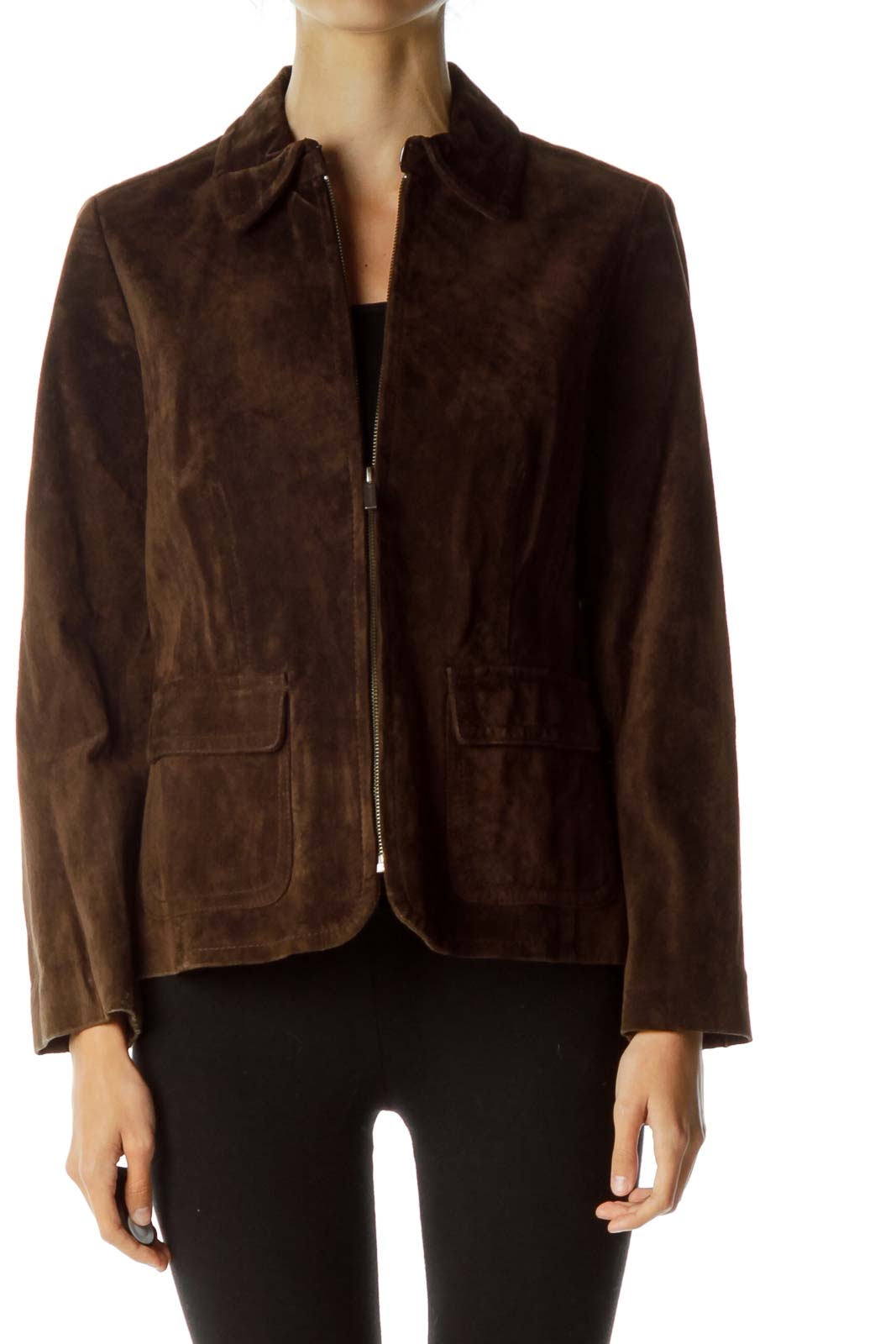 Brown Suede Zippered Jacket