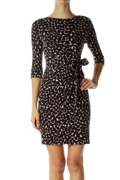 Black Beige Tie Long-Sleeve Dress