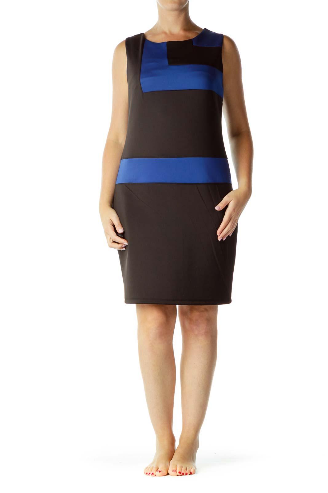 Black Blue Geometric Sheath Dress